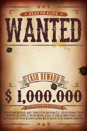 Ilustración de una plantilla del cartel cartel buscado época antigua, con la inscripción muerto o vivo, recompensa en efectivo como en el lejano oeste y películas del oeste