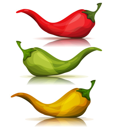 Illustration of a set of cartoon red, green and yellow chili pepper spice, for mexican food Illustration