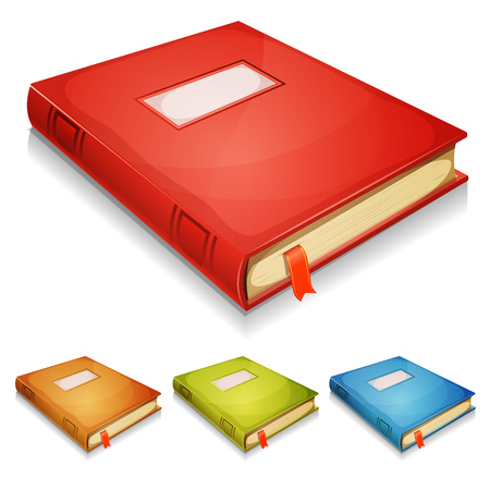 Illustration of a set of album books with red, golden yellow, green and blue cover, isolated on white background