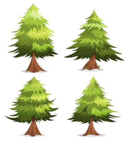 arboles caricatura: Ilustración de un conjunto de dibujos animados o de primavera verano de pinos y abetos bosque con troncos divertidos, para paisajes personalizados y juegos ui Vectores