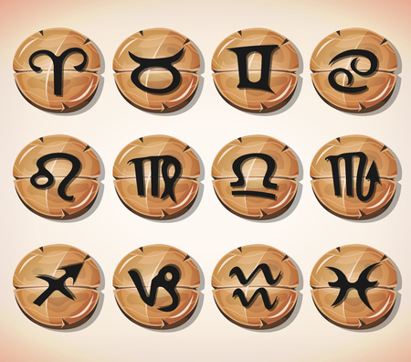astrology signs: Illustration of a set of funny zodiac sign icons on cartoon wood buttons, for astrology, app or game ui on tablet pc