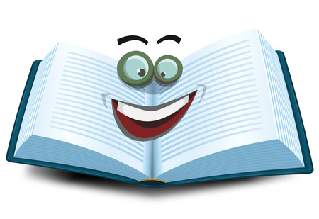 Illustration of a cartoon opened book character icon with funny eyes glasses, for search engine or online library mascot