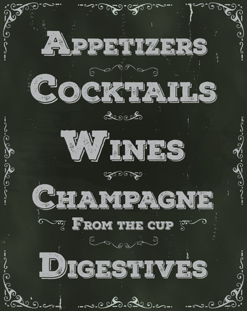 Illustration of a hand drawn drinks and beverage restaurant placard, including cocktails, appetizer, wine, alcohol, with floral patterns and ornaments on chalkboard Illustration