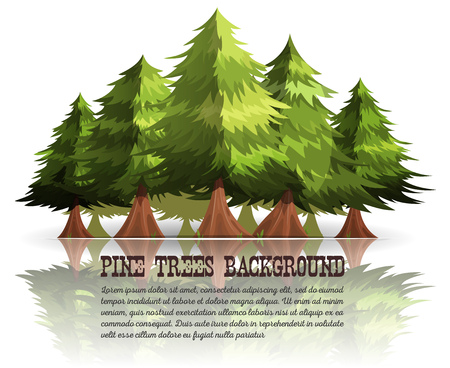 pine trees: Illustration of mountains forest pine trees and firs background, for christmas or greeting card