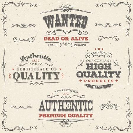 Illustratie van een set van de hand getekende kwaliteitslabels, wilde plakkaat, schetste banners, bloemen patronen, linten, en grafisch ontwerp elementen op vintage oud papier achtergrond