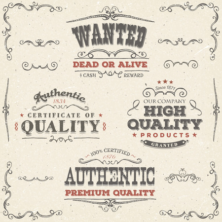 Illustration of a set of hand drawn quality labels, wanted placard, sketched banners, floral patterns, ribbons, and graphic design elements on vintage old paper background Ilustração