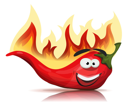 pimento: Illustration of a funny cartoon red hot chili pepper spice, with burning flames for mexican and south american food recipe Illustration