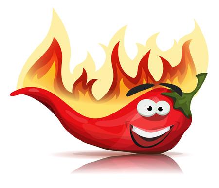 america del sur: Ilustración de una historieta divertida de Red Hot Chili pimienta especias, con llamas ardientes de receta de comida mexicana y al sur