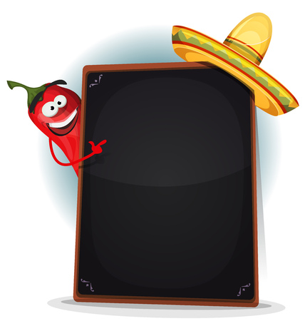 Illustration of a funny cartoon red hot chili pepper spice, showing blackboard mexican menu for hot meals and and south american food restaurants Ilustração