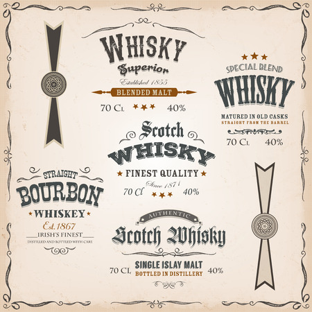 Illustration of a vintage design set of whisky drinks and beverage package labels, with textures, floral patterns, ornaments and seals for bottle