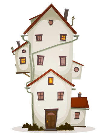Illustratie van een cartoon hoge grote grappige huis, kasteel of landhuis, met veel ramen en bijgebouw