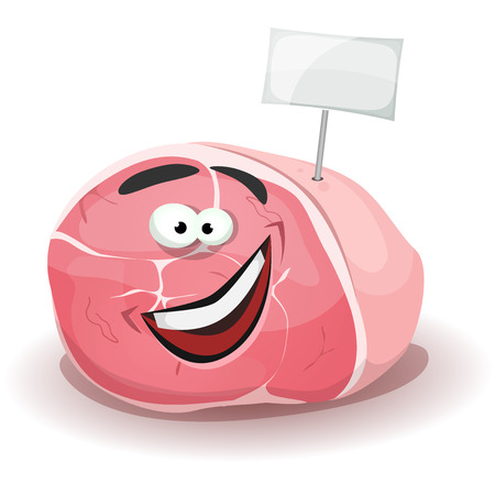 Illustration of a cartoon funny ham character, happy And smiling, with white blank label sign, for delicatessen mascot Ilustração