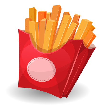 mouth watering: Illustration of cartoon yummy french fries inside red carton package with sign, for snack restaurant and takeaway food