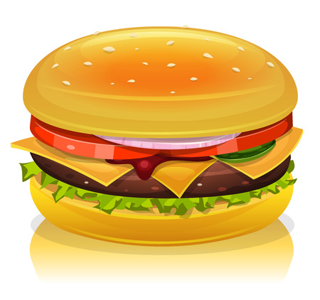 sandwich restaurant: Illustration of a cartoon fast food hamburger icon, with tomatoes,red onion, salad leaves, cheese, ketchup, gherkin slice, beef steak and bread buns
