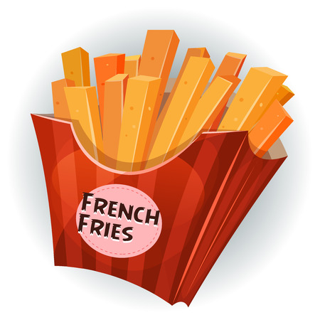 fried potatoes: Illustration of cartoon appetizing french fried potatoes inside red striped carton package, for snack restaurant and takeaway food Illustration