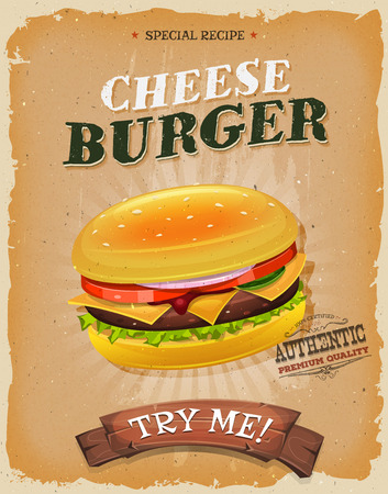 Illustration of a design vintage and grunge textured poster, with burger icon, quality seal, for fast food snack and takeaway menu