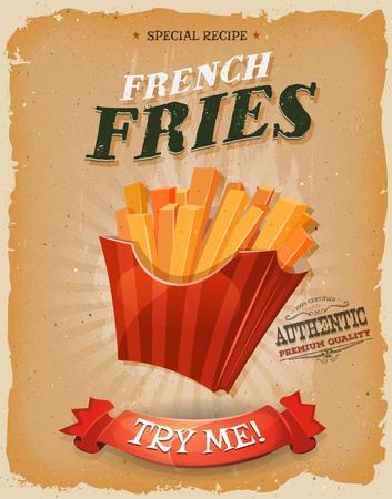papas fritas: Ilustración de un diseño de la vendimia y textura grunge cartel, con el francés frito icono de patatas, para el bocado de comida rápida y el menú de comida para llevar