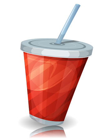 food and drinks: Illustration of a funny cartoon red striped paper cup of soda, for fast food drinks and beverage menu