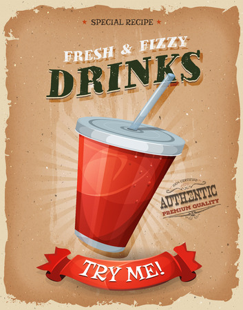 vaso de jugo: Ilustraci�n de un dise�o de la vendimia y textura grunge cartel, con un vaso de pl�stico de jugo de fruta o refresco, para el bocado de comida r�pida y el men� de comida para llevar