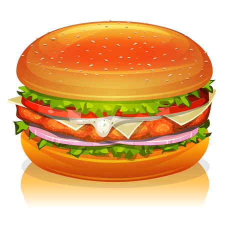 steaks: Illustration of an appetizing cartoon fast food chicken burger icon, with tomatoes, red onion, salad leaves, cheese, sauce, white meat paned fried steak and bread buns Illustration