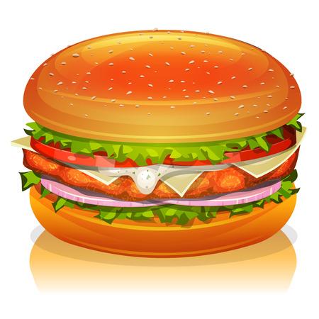 bollos: Ilustración de un icono de la hamburguesa de pollo de comida rápida de la historieta apetitoso, con tomates, cebolla roja, hojas de ensalada, queso, salsa, carne blanca acristalamiento bistec frito y pan bollos
