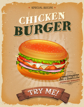 advertisement: Illustration of a design vintage and grunge textured poster, with fried chicken burger icon, for fast food snack and takeout menu
