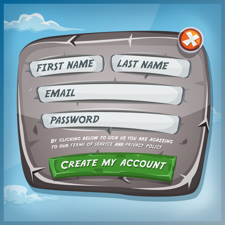 Illustration of a funny cartoon design ui app or game registration form, on stony and rock panel, for terms of services and policy agreement on tablet pc, with blue sky background