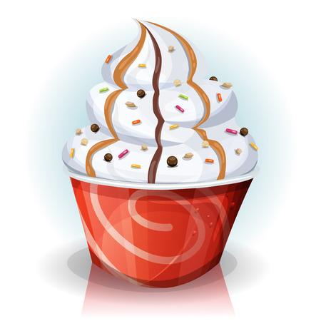 helados caricatura: Ilustración de un dibujo animado taza de papel rayado divertido del helado Vectores