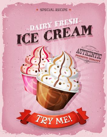 postres: Ilustración de un diseño de la vendimia y el cartel textura del grunge con la taza de papel rayado de helado