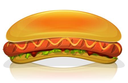 saucisse: Illustration d'un dessin animé appétissante fast food hot dog hamburger icône
