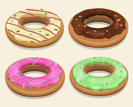 chocolate sprinkles: Illustration of a funny cartoon set of american donuts Illustration