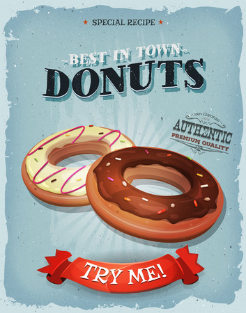 cake with icing: Illustration of a design vintage and grunge textured poster with american donuts