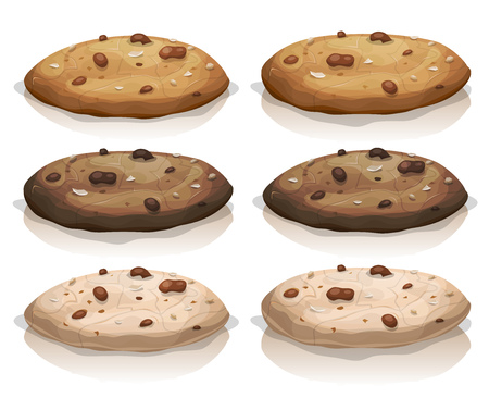chocolate biscuit: Illustration of a set of cartoon american cookies Illustration