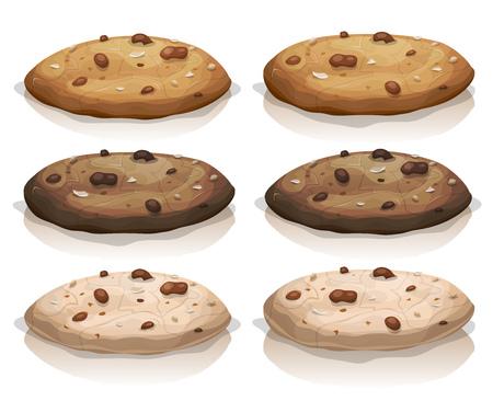 galletas: Ilustración de un conjunto de cookies americano animados
