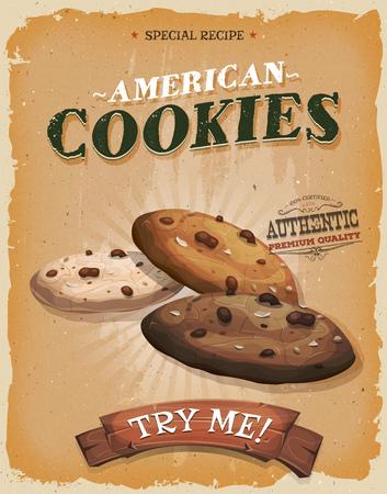 chocolate cookie: Ilustración de un diseño de la vendimia y textura grunge cartel Vectores