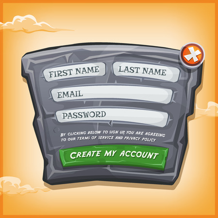 Illustration of a funny cartoon design ui app or game login form, on stony and rock panel, for terms of services and policy agreement on tablet pc, with yellow sky background