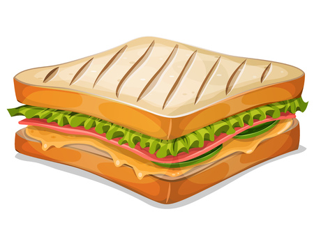 Illustration of an appetizing cartoon fast food french sandwich icon, with ham slice, melted cheese, salad leaves and classic grilled bread crumb, for takeout restaurant Vectores