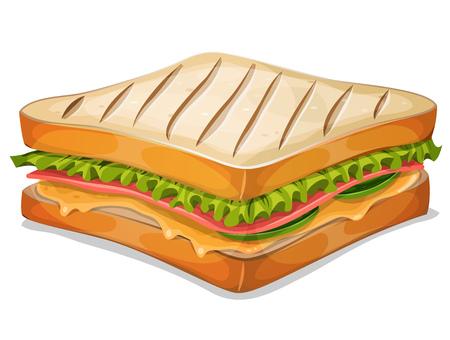 bocadillo: Ilustración de un icono de la comida rápida sándwich francés de dibujos animados apetecible, con una rodaja de jamón, queso derretido, hojas de ensalada y clásico miga de pan a la parrilla, para el restaurante de comida para llevar