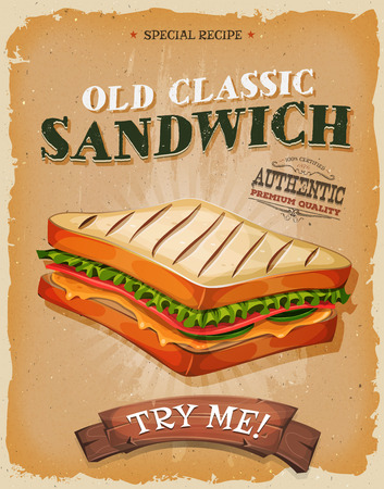 Illustration of a design vintage and grunge textured poster, with appetizing ham, bread and salad classic sandwich, for fast food snack and takeout menu Ilustração