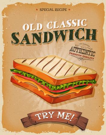 bocadillo: Ilustración de un diseño de la vendimia y textura grunge cartel, con jamón apetitoso, pan y sándwich clásico ensalada, para el bocado de comida rápida y el menú de comida para llevar