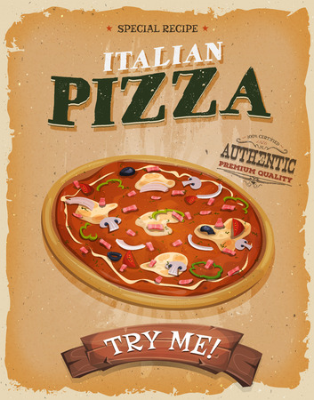 Illustration of a design vintage and grunge textured poster, with appetizing italian pizza, for fast food snack and takeaway menu