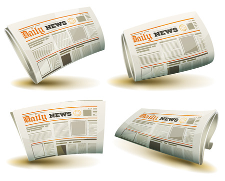 headings: Illustration of a set of cartoon daily or weekly printed newspaper publication icons