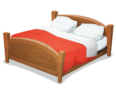 cama: Ilustración de una madera cama doble grande historieta para parejas con almohadas y manta roja Vectores