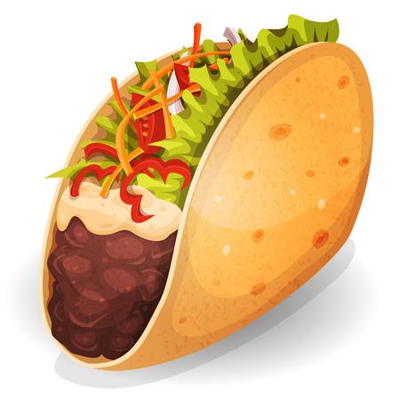 caricatura mexicana: Ilustración de un icono de la comida rápida mexicana tacos de dibujos animados apetecible, con una envoltura de maíz, hojas de ensalada, tomate, queso y carne de vacuno de carne con frijoles de chile, para el restaurante de comida para llevar