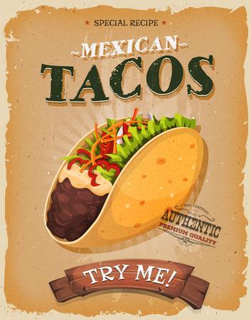 merienda: Ilustración de un diseño de la vendimia y el cartel textura del grunge, con apetitosos icono de taco mexicano, envoltura de maíz y guarnición, para el bocado de comida rápida y el menú de comida para llevar