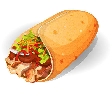 Illustration of an appetizing cartoon fast food mexican burrito icon, with corn wrap, salad leaves, tomatoes, cheese and chicken meat with chili beans, for takeout restaurant