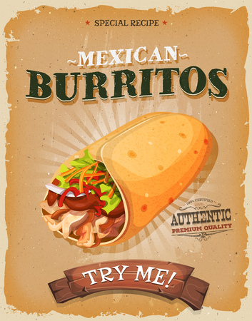 tortilla de maiz: Ilustración de un diseño de la vendimia y el cartel textura del grunge, con apetitosos icono mexicano burrito, envoltura de maíz y carne de pollo guarnición, para el bocado de comida rápida y el menú de comida para llevar