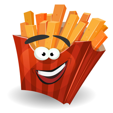 fried potatoes: Illustration of a cartoon french fried potatoes character with red striped carton package, as a funny mascot for snack restaurant and takeaway food