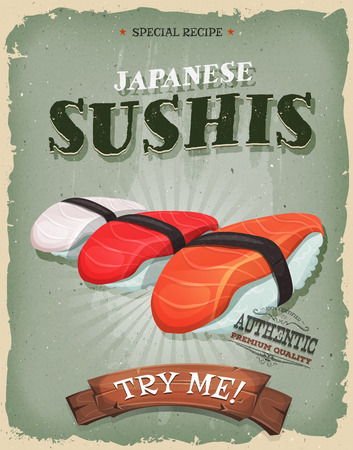 shrimp: Illustration of a design vintage and grunge textured poster, with appetizing asian sushis icon, salmon,tuna, bream, shrimps for takeout menu