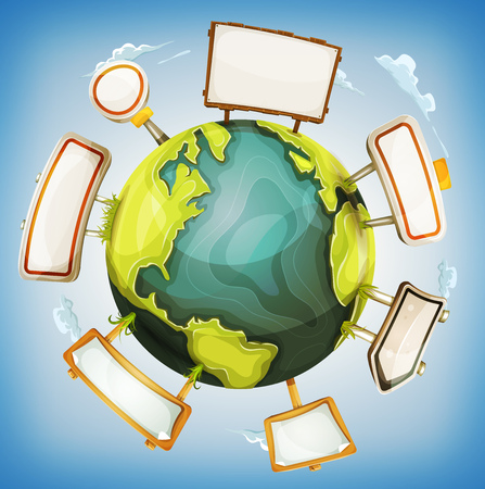Illustration of a cartoon design 360 degree earth planet globe with road and wood signs elements around Illustration